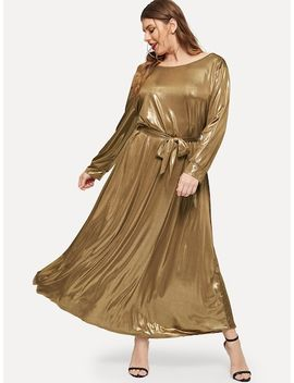 Plus Self Belted Metallic Dress by Shein