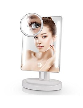 Miusco Lighted Makeup Mirror With Magnifying Pocket Mirror, Rectangle, Usb And Battery Operated, White by Miusco