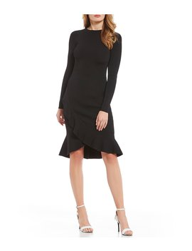 Sara Sweater Ruffle Hem Midi Dress by Gianni Bini