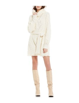 For The Love Of Cables Cowl Neck Belted Sweater Dress by Free People