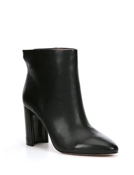 Eloran Block Heel Leather Booties by Ad &Amp; Daughters