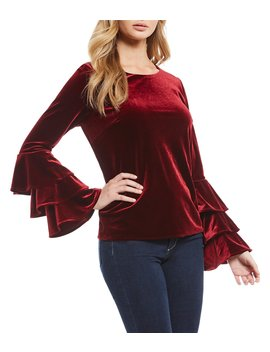 Velvet Ruffle Bell Sleeve Top by Sugarlips