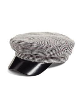Faux Leather & Glen Plaid Baker Boy Hat by Leith