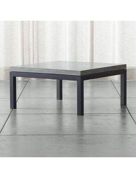 Parsons Concrete Top/ Dark Steel Base 36x36 Square Coffee Table by Crate&Barrel