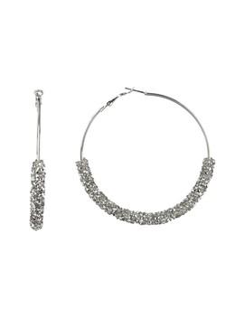 Glass Crystal Dust Large Hoop Earrings by Free Press