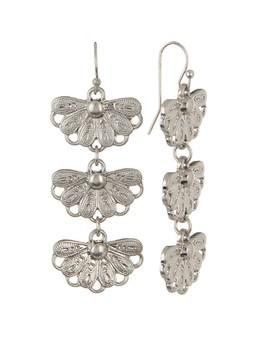 Triple Flower Linear Dangle Earrings by Melrose And Market