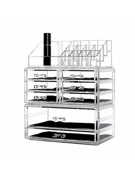 Dream Genius Clear Acrylic 4 Tier Drawers And 16 Grid Stackable Cosmetic Makeup Storage Cube Organizer And Jewelry Storage Drawers Case Display,Great For Bathroom,Dresser,Vanity And Countertop by Dream Genius