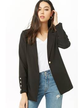 Faux Pearl Button Blazer by Forever 21