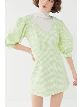 Uo Lena Gingham Puff Sleeve Mini Dress by Urban Outfitters