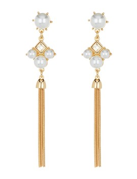 Faux Pearl & Crystal Chain Drop Earrings by Free Press