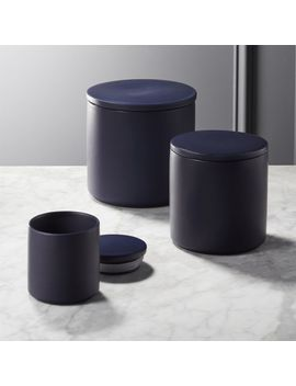 Cadet Matte Navy Blue Canisters by Crate&Barrel