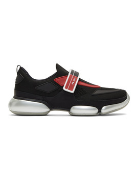 Black & Red Knit Cloudbust Sneakers by Prada