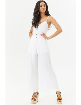 Embroidered Eyelet Wide Leg Jumpsuit by Forever 21