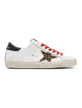 White & Black Leopard Superstar Sneakers by Golden Goose