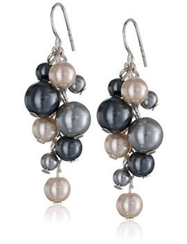 Colored Simulated Pearl Cluster Drop Earrings by Amazon Collection