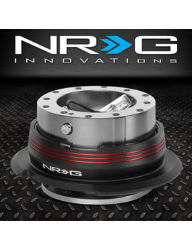 Nrg 6 Bolt Aluminum Steering Wheel Quick Release Gen 2.9 Gun Metal/Red Stripes by Nrg Innovations