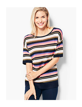 Linen Back V Neck Sweater   Stripe by Talbots