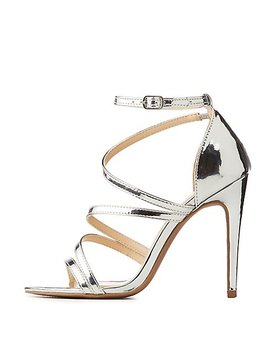 Metallic Strappy Stiletto Sandals by Charlotte Russe