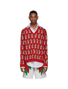Red Wool Pig V Neck Sweater by Gucci
