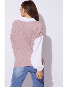 Dani Dyer Pink Colour Block Jumper by In The Style