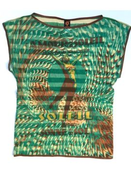 Vintage Jean Paul Gaultier Stretch Mesh Top Amour Au Soleil Size L Green by Jean Paul Gaultier