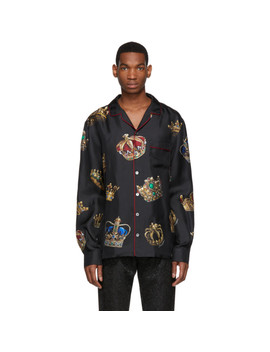 Black Silk Crown Pyjama Shirt by Dolce & Gabbana