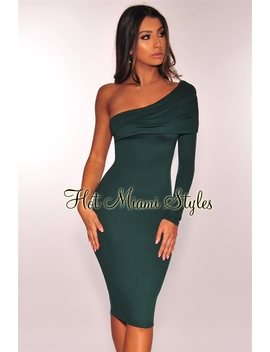 Emerald Overlay One Shoulder Sleeve Dress by Hot Miami Style