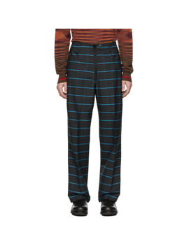 Navy & Blue Wild Stripe Trousers by Kenzo