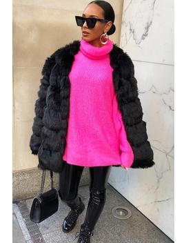 Neon Pink Roll Neck Jumper Dress   Freylynn by Rebellious Fashion