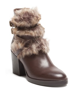 Faux Fur Side Buckle Leather Boot by Manas