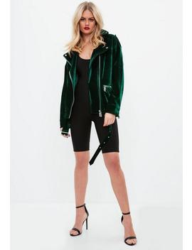 Green Textured Velvet Jacket by Missguided