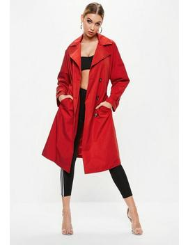 Red Oversized Classic Trench Coat by Missguided