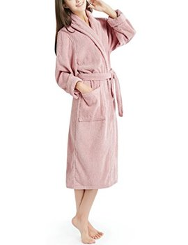 Shower Bath Robe For Women, 100 Percents Cotton Terry Cloth Fuzzy Towel Robes   White/Blue / Rose/Taupe by Ink+Ivy
