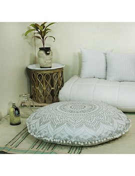 "Popular Handicrafts Mandala Round Hippie Floor Pillow Cover (Silver, 32"" Cushion Cover) by Popular Handicrafts"