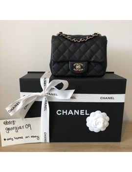 Authentic   Chanel Mini Square Flap Bag In Black Caviar Leather With Light Gold by Chanel
