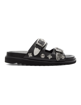 Black Leather Charm Sandals by Toga Virilis