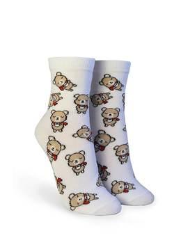 Bear & Coffee Print Crew Socks by Forever 21
