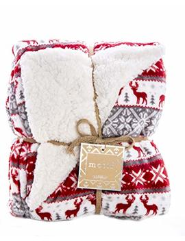 Re Live Reversible Velvet Luxury Berber Throw Blanket 50x60 (Reindeer) by Re Live