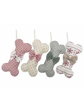 Beyond Your Thoughts (Extra Large) Cotton Christmas Stocking Dog Bone Holidays Gingham Dog Bone For Pets Christmas Ornament #4 Snow 16 Inches X 9 Inches. by Beyond Your Thoughts