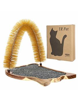 Cat Scratcher Grooming Arch Toy   Pet Cat Arch Self Groomer Massager Fur Groom Scratcher Toys Brush Controls Shedding Acacia Wood Mat Construction by Tr Pet