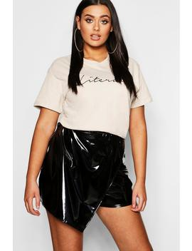 Plus Faux Leather Skort by Boohoo