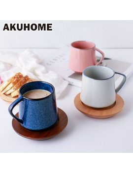 European Style 5 Colors Retro Kiln Glazed Coffee Mug Creative Couple Milk Cup Flower Cup Akuhome by Akuhome