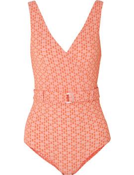 Yasmin Wrap Effect Seersucker Swimsuit by Lisa Marie Fernandez