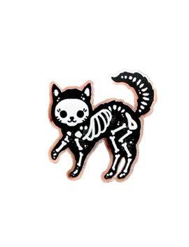 Skeleton Cat Enamel Pin Badge by Gu De Ke