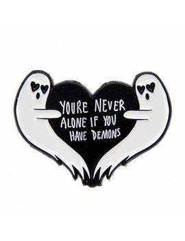 Ghost Heart Enamel Pin Halloween Quote by Gu De Ke