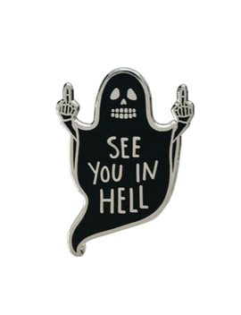See You In Hell Enamel Pin Halloween Horror Goth Atheist Gag Gift Badge Victorian Witch Altar Satan Death Decor, Autu by Keshegans