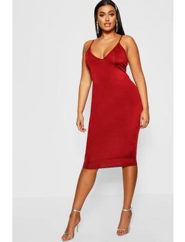 Plus Disco Slinky Plunge Midi Dress by Boohoo
