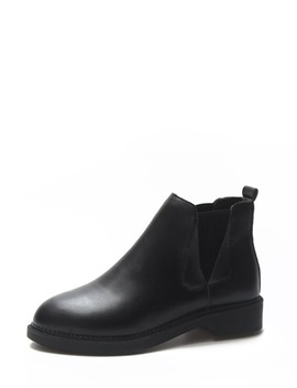 Slip On Pu Ankle Boots by Romwe