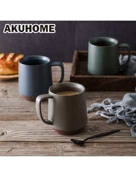 European Matte Clay Mug Color Blocking 3 Color Ceramic Coffee Mug Porcelain Milk Cup by Akuhome