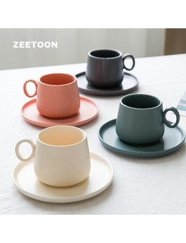 300m L Ceramic Drinkware Coffee Cups And Mugs Porcelain Saucer Sets Coffee Mug Office Cups Breakfast Milk Cup by Zeetoon